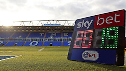 The fourth official substitution board showing 2019 pitchside at the ABAX Stadium, home of Peterborough United - Mandatory by-line: Joe Dent/JMP - 01/01/2019 - FOOTBALL - ABAX Stadium - Peterborough, England - Peterborough United v Scunthorpe United - Sky Bet League One