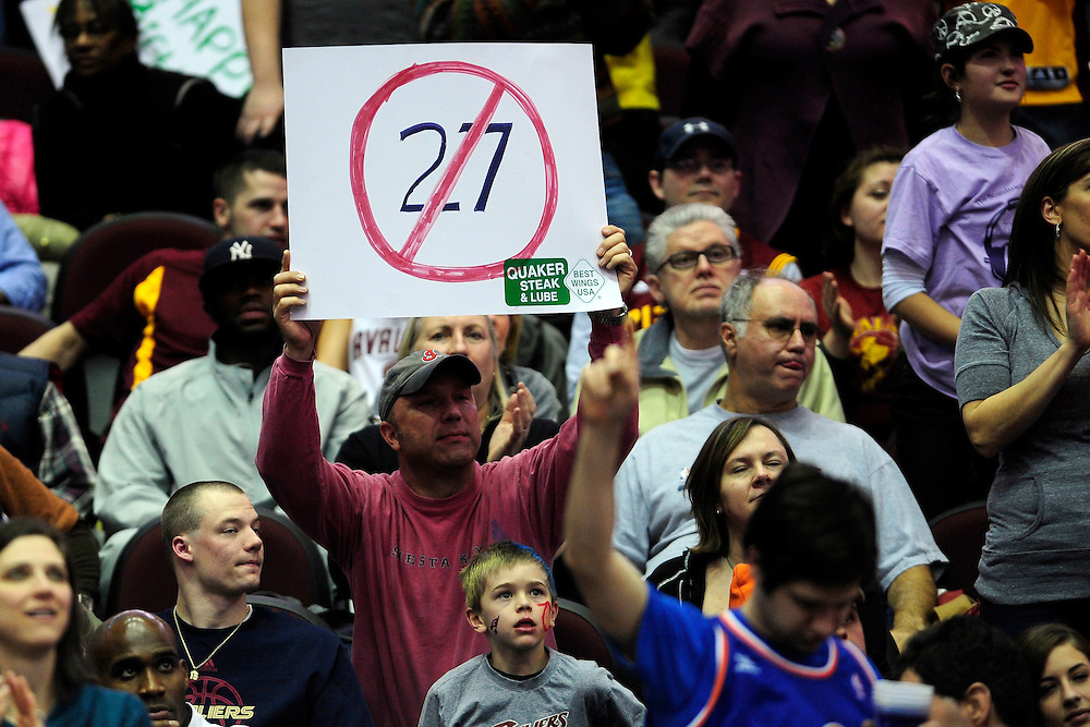 Feb. 11, 2011; Cleveland, OH, USA; A Cleveland Cavaliers fan holds up a sign supporting the Cavaliers during the fourth quarter against the Los Angeles Clippers at Quicken Loans Arena. The Cavaliers broke their loosing streak beating the Clipper 126-119 in overtime. Mandatory Credit: Jason Miller-US PRESSWIRE