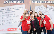 Jeremy Corbyn MP, Leader of the Labour Party, Tom Watson MP, Deputy Leader of the Labour Party and Angela Eagle MP, Shadow First Secretary of State and Shadow Secretary of State for Business, Innovation and Skills unveil a new poster from the Labour In for Britain campaign to Remain in the EU.<br /> 7th June 2016.<br /> Southbank, London, Great Britain <br /> <br /> <br /> Angela Eagle <br /> selfie with party activists <br /> <br /> <br /> <br /> Photograph by Elliott Franks <br /> Image licensed to Elliott Franks Photography Services