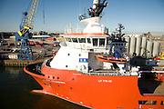 E.R. Georgina ship, Port harbour, Aberdeen, Scotland
