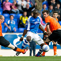 St Johnstone v Dundee United....01.09.12      SPL  <br /> Willo Flood's lunge on Gregory Tade caused a huge rammy between the players<br /> Picture by Graeme Hart.<br /> Copyright Perthshire Picture Agency<br /> Tel: 01738 623350  Mobile: 07990 594431
