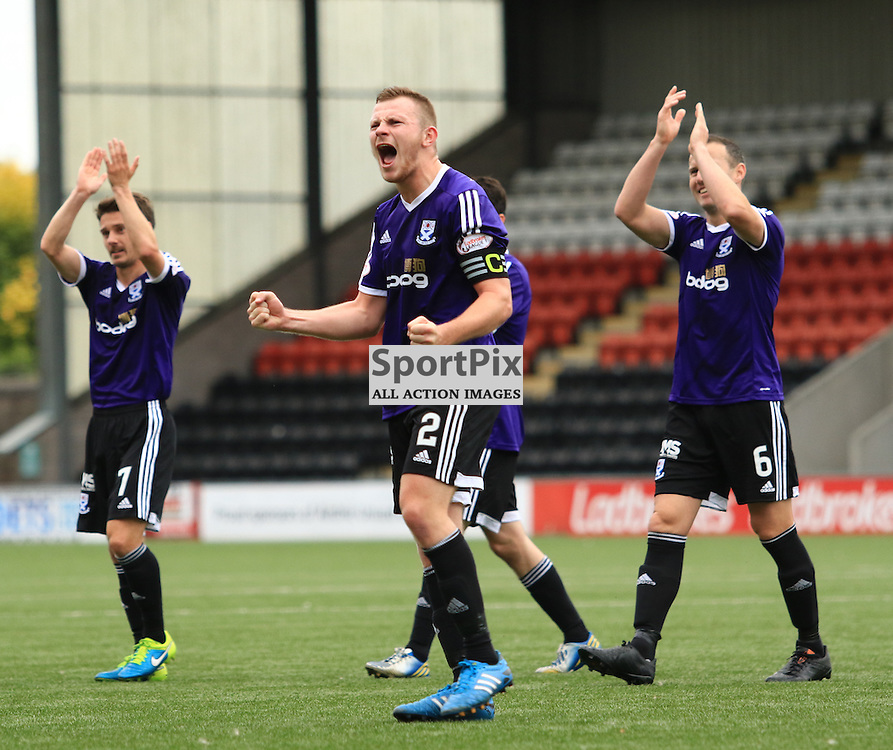 Club captain Nicky Devlin can't hide his delight at the final whistle ... ©Edward Linton | SportPix.org.uk