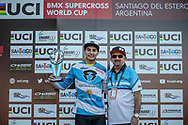 #595 (MOLINA Gonzalo) ARG wins Round 9 of the 2019 UCI BMX Supercross World Cup in Santiago del Estero, Argentina