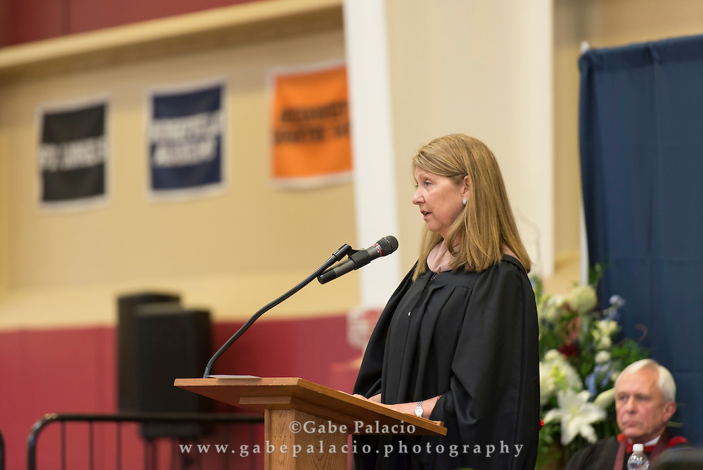 Eileen Walker, Chair of the Board of Trustees, speaking during the Centennial Commencement at the Harvey School on June 9, 2016. (photo by Gabe Palacio)