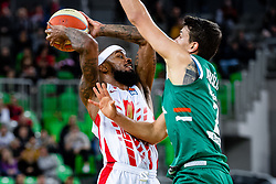 Lorenzo Brown of KK Crvena Zvezda MTS and Filip Kruslin of KK Cedevita Olimpija during ABA basketball league round 9 match between teams KK Cedevita Olimpija and KK Crvena Zvezda MTS in Arena Stozice, 1. December, 2019, Ljubljana, Slovenia. Photo by Grega Valancic / Sportida