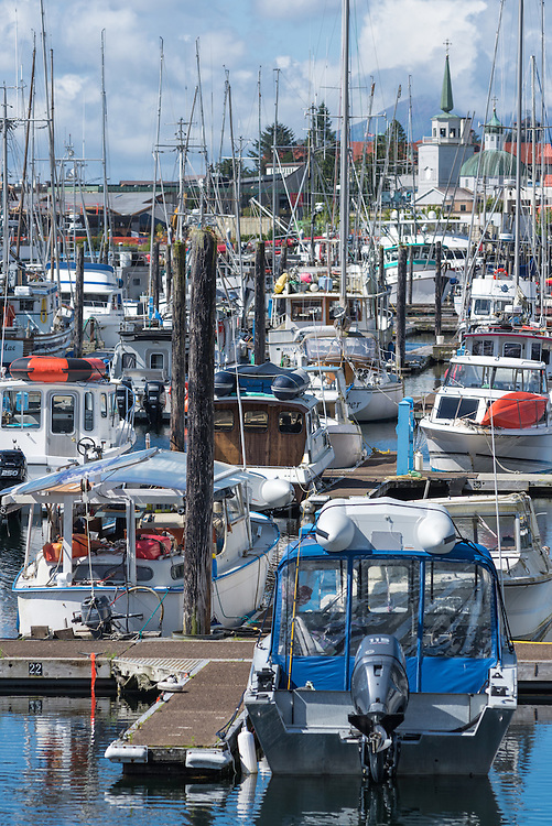 Boats in Crescent Harbor, Sitka, Alaska.