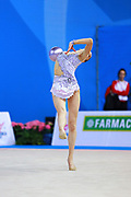 Kosoulieva Angela of Poland competes during the rhythmic gymnastics individual ball qualification of the World Cup at Adriatic Arena on April 1, 2016 in Pesaro, Italy.<br />