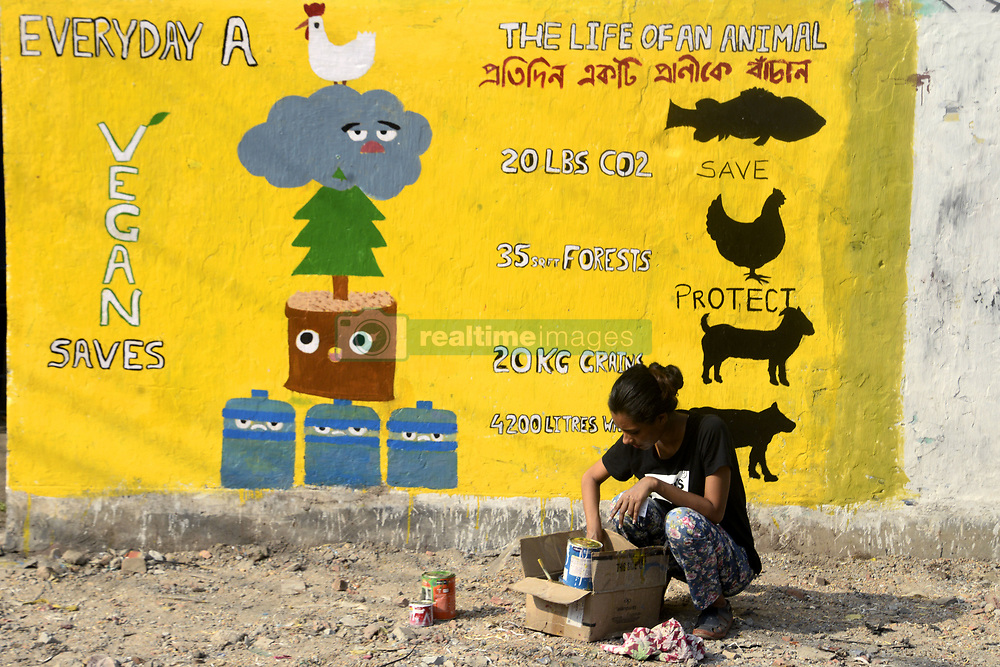 April 28, 2018 - Kolkata, West Bengal, India - Animal rights activist paint a wall to create awareness among people to respect the animal rights and to be vegan. (Credit Image: © Saikat Paul/Pacific Press via ZUMA Wire)