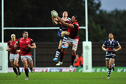 Jack Wallace (Bristol) and Dan Browne (London Welsh) compete for the ball in the air - Photo mandatory by-line: Patrick Khachfe/JMP - Tel: Mobile: 07966 386802 28/05/2014 - SPORT - RUGBY UNION - Kassam Stadium, Oxford - London Welsh v Bristol Rugby - Greene King IPA Championship.