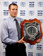 Ponsonby Captain Mark Hooper with the Gallaher Shield, Auckland rugby union awards dinner, Eden Park, Auckland. 28 October 2009. Photo: William Booth/PHOTOSPORT