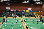 a general view at the Wales international badminton championships 2014 at the Welsh institute of Sport, Sophia Gardens in Cardiff, South Wales on Friday 28th November 2014<br /> pic by Andrew Orchard, Andrew Orchard sports photography.