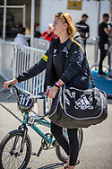 Women Junior #117 (WHITLOCK Edan) AUS arriving on race day at the 2018 UCI BMX World Championships in Baku, Azerbaijan.