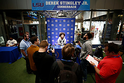 Derek Stingley Jr. #24 of the LSU Tigers speaks with the media at Media Day on Thursday, Dec. 26, in Atlanta. LSU will face Oklahoma in the 2019 College Football Playoff Semifinal at the Chick-fil-A Peach Bowl. (Jason Parkhurst via Abell Images for the Chick-fil-A Peach Bowl)