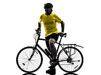 one  man exercising bicycle mountain bike on white background
