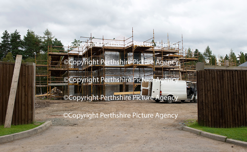 The Queen's Crescent housing development at Gleneagles Hotel...01.09.11<br /> A house under construction...THIS PHOTO WAS TAKEN ON PRIVATE PROPERTY<br /> Picture by Graeme Hart.<br /> Copyright Perthshire Picture Agency<br /> Tel: 01738 623350  Mobile: 07990 594431