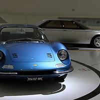 Ferrari Dino 246 GT (front) and Ferrari Pinin prototype (back) at Museo Casa Enzo Ferrari, 2014