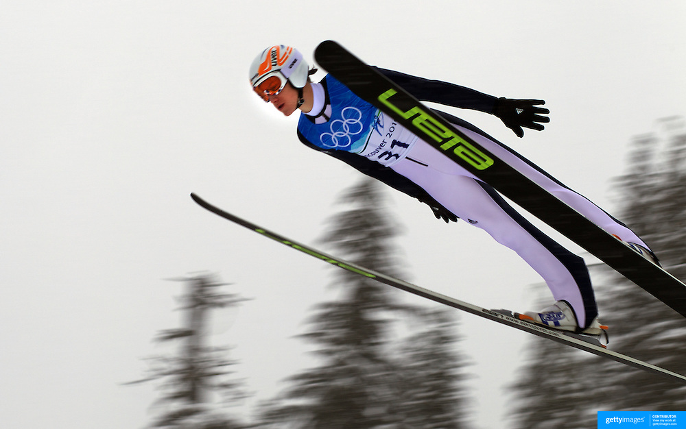 Winter Olympics, Vancouver, 2010.Peter Prevc, Slovakia, in action during the Nordic Combined Ski Jumping at The Whistler Olympic Park, Whistler, during the Vancouver  Winter Olympics. 11th February 2010. Photo Tim Clayton