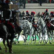 Roma 27/05/2018 Piazza di Siena<br /> 86 CSIO Piazza di Siena<br /> una delle cariche del 4&deg; Reggimento Carabinieri a cavallo
