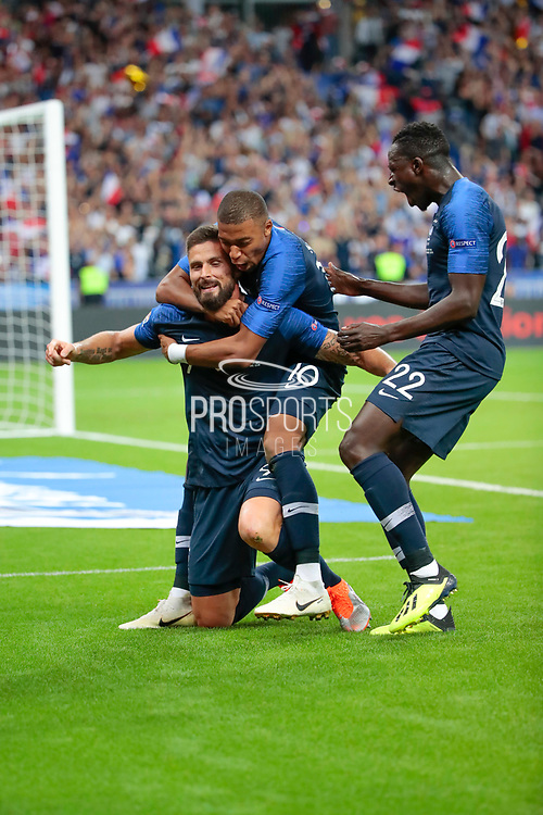 Olivier Giroud (FRA) scored a goal and celebrated it with Kylian Mbappe (FRA) and Benjamin Mendy (FRA) during the UEFA Nations League, League A, Group 1 football match between France and Netherlands on September 9, 2018 at Stade de France stadium in Saint-Denis near Paris, France - Photo Stephane Allaman / ProSportsImages / DPPI