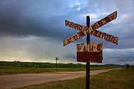 Rusty railway crossing signs on the road to Antilla, Holguin, Cuba.