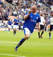 Photo: Chris Ratcliffe.<br />Leicester City v Ipswich Town. Coca Cola Championship. 12/08/2006.<br />Iain Hume celebrates putting Leicester into a 3-1 lead.