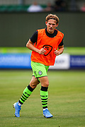 Forest Green Rovers forward George Williams (11) warms up  ahead of the EFL Sky Bet League 2 match between Forest Green Rovers and Oldham Athletic at the New Lawn, Forest Green, United Kingdom on 3 August 2019.
