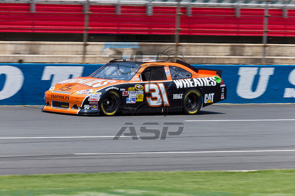 CONCORD, NC - MAY 26, 2012:  Jeff Burton (31) brings his Wheaties Chevrolet on the track for a practice session for the Coca-Cola 600 at the Charlotte Motor Speedway in Concord, NC.
