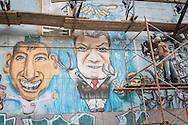 Bogota, Cundinamarca, Colombia - 05.10.2016        <br /> <br /> A new mural in the streets of Bogota shows Colombian President Juan Manuel Santos as bringer of peace. 50,22% voted against the negotiated peace contract between the marxist guerrilla FARC and the Colombian government.<br /> <br /> Ein neues Wandbild in den Stra&szlig;en von Bogota zeigt den kolumbianischen Praesidenten Juan Manuel Santos als Friedensbringer. Wenige Tage zuvor scheiterte der ausgehandelten Friedensvertrag zwischen der marxistischen FARC Guerilla und der kolumbianischen Regierung.<br />  <br /> Photo: Bjoern Kietzmann
