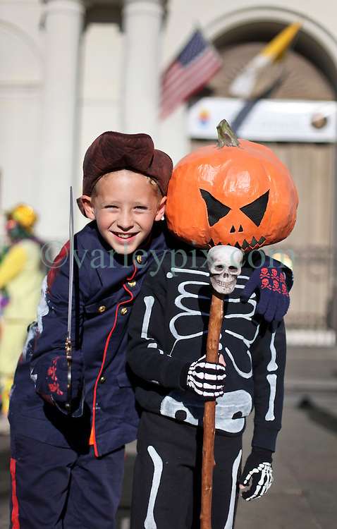 09 February 2016. New Orleans, Louisiana.<br /> Mardi Gras Day. Kids in costume in the French Quarter.<br /> Photo&copy;; Charlie Varley/varleypix.com