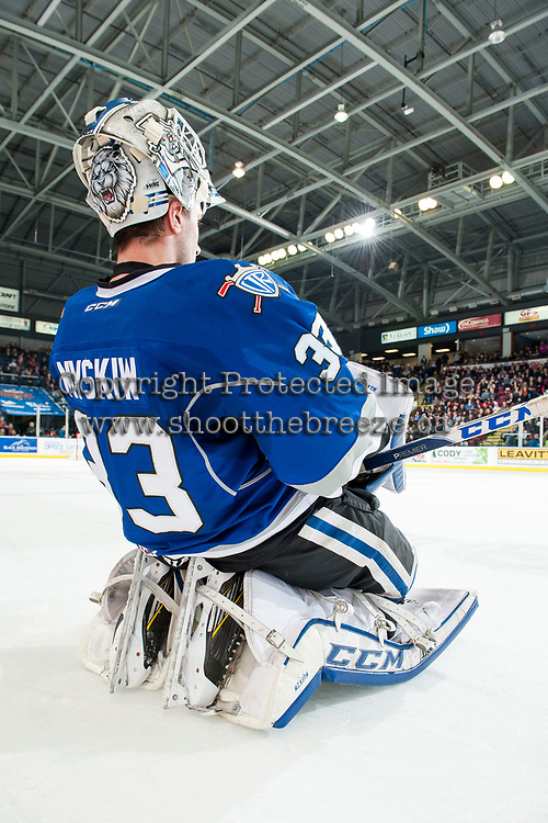 KELOWNA, CANADA - MARCH 11: Dylan Myskiw #33 of the Victoria Royals stretches on the ice during intermission against the Kelowna Rockets on March 11, 2017 at Prospera Place in Kelowna, British Columbia, Canada.  (Photo by Marissa Baecker/Shoot the Breeze)  *** Local Caption ***