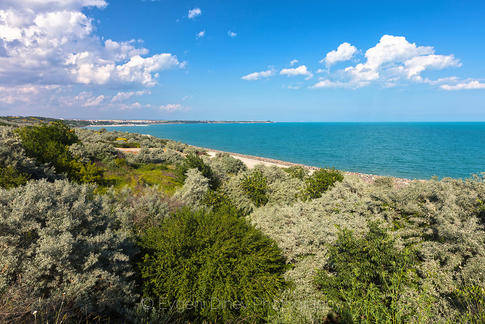 Azure colors of Black Sea in springtime