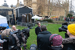 "Prominent Leave and ""Hard Brexit"" campaigner Jacob Rees-Mogg MP addresses the media on College Green, opposite the Houses of Parliament. London, January 15 2019."