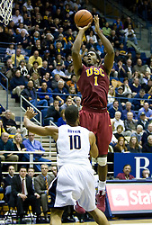 January 9, 2010; Berkeley, CA, USA;  Southern California Trojans forward Alex Stepheson (1) shoots over California Golden Bears forward Jamal Boykin (10) during the second half at the Haas Pavilion.  California defeated USC 67-59.