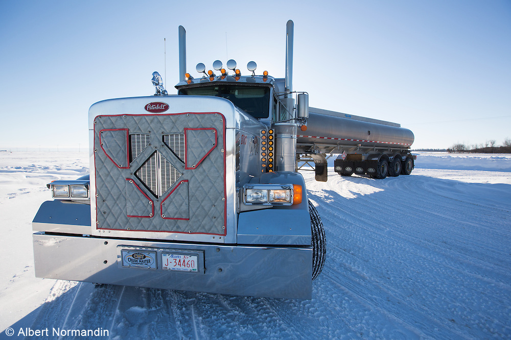 Crude Master Transport truck in snow, Lloydminster, Alberta