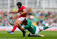 Rugby Union - 2019 pre-Rugby World Cup warm-up (Guinness Summer Series) - Ireland vs. Wales<br /> <br /> Leigh Halfpenny (Wales) in action against Robbie Henshaw (Ireland) at The Aviva Stadium.<br /> <br /> COLORSPORT/KEN SUTTON