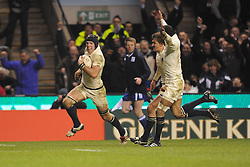 James Haskell (England) runs in his second try during the RBS 6 Nations Championship match between England and Wales at Twickenham Stadium on February 6, 2010 in London, England.