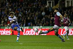 Daniel Williams of Reading shot is blocked bt Mile Jedinak of Aston Villa - Mandatory by-line: Jason Brown/JMP - 18/10/2016 - FOOTBALL - Madejski Stadium - Reading, England - Reading v Aston Villa - Sky Bet Championship