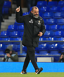 Wolverhampton Wanderers manager Nuno Espirito Santo gives the thumbs up after the final whistle of the Premier League match at Goodison Park, Liverpool.