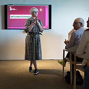 APRIL 25, 2018--MIAMI, FLORIDA<br /> Victoria Rogers, VP/Arts for the Knight Foundation, with opening remarks at the beginning of a presentation by some of the recipients of $1.87 million from the foundation to support the exploration of new ways technology can connect people to art. The event was held at the Perez Art Museum Miami.<br /> (PHOTO BY ANGELVALENTIN/FREELANCE)