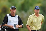 Steve Stricker and his caddie during the first round of the World Golf Championship Cadillac Championship on the TPC Blue Monster Course at Doral Golf Resort And Spa on March 8, 2012 in Doral, Fla. ..©2012 Scott A. Miller.