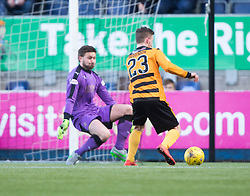 Alloa Athletic's Mitchell Megginson goes past Falkirk's keeper Danny Rogers but misses a chance. <br /> Falkirk 2 v 0 Alloa Athletic, Scottish Championship game played 5/3/2016 at The Falkirk Stadium.