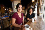 Bibiana Canales (left) and Veronica Canales (right) pose for a photo inside Fair Trade Cafe in downtown Phoenix on August 16, 2016.
