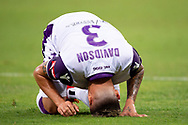 SYDNEY, NSW - FEBRUARY 24: Perth Glory midfielder Jason Davidson (3) goes down hurt at round 20 of the Hyundai A-League Soccer between Western Sydney Wanderers FC and Perth Glory on February 24, 2019 at Spotless Stadium, NSW. (Photo by Speed Media/Icon Sportswire)