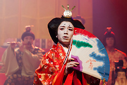 © Licensed to London News Pictures. 21/05/2015. London, UK. Pictured: Kensuke Sunahara as Player Queen. The Ninagawa Company returns to the Barbican and perform Hamlet by Shakespeare under the direction of Yukio Ninagawa. With Tatsuya Fujiwara as Hamlet. Performances in Japanese with English surtitles from 21 to 24 May 2015. Photo credit : Bettina Strenske/LNP