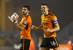 Conor Coady of Wolverhampton Wanderers and Ruben Neves of Wolverhampton Wanderers celebrate winning against Derby County - Mandatory by-line: Robbie Stephenson/JMP - 11/04/2018 - FOOTBALL - Molineux - Wolverhampton, England - Wolverhampton Wanderers v Derby County - Sky Bet Championship