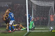 Crewe Alexandra midfielder Callum Ainley shots at goal during the EFL Sky Bet League 2 match between Macclesfield Town and Crewe Alexandra at Moss Rose, Macclesfield, United Kingdom on 21 January 2020.