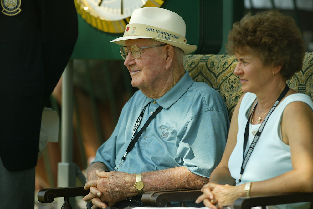 Byron Nelson and wife, Peggy..2003 PGA Championship..Second Round..Oak Hill CC..Rochester, NY..Friday, August 15 2003..photograph by Darren Carroll
