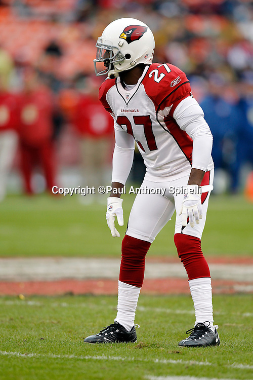 Arizona Cardinals cornerback Michael Adams (27) gets set for the snap during the NFL week 17 football game against the San Francisco 49ers on Sunday, January 2, 2011 in San Francisco, California. The 49ers won the game 38-7. (©Paul Anthony Spinelli)