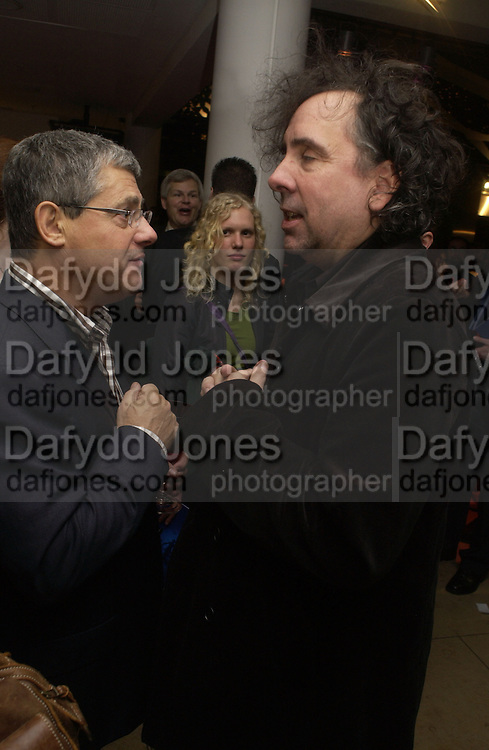 """CAMERON MACKINTOSH AND TIM BURTON. World Premiere of the theatrical production of """"Edward Scissorhands"""" at Sadler's Wells Theatre in London. 30 November 2005. ONE TIME USE ONLY - DO NOT ARCHIVE  © Copyright Photograph by Dafydd Jones 66 Stockwell Park Rd. London SW9 0DA Tel 020 7733 0108 www.dafjones.com"""