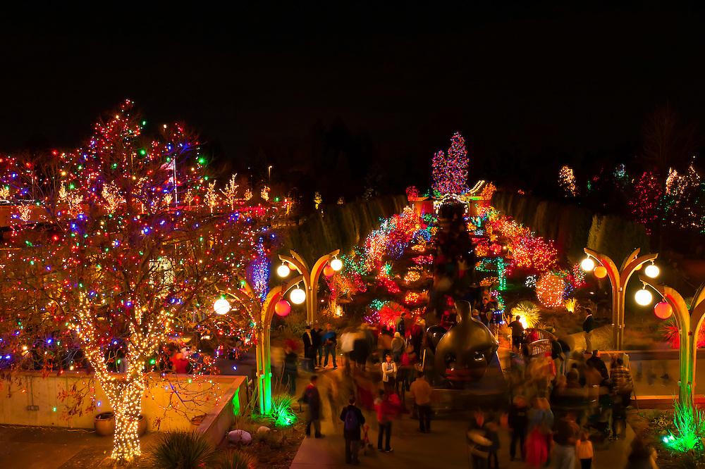 Blossoms of Light , one million lights illuminating the Denver Botanic Gardens during the holiday season, Denver, Colorado USA